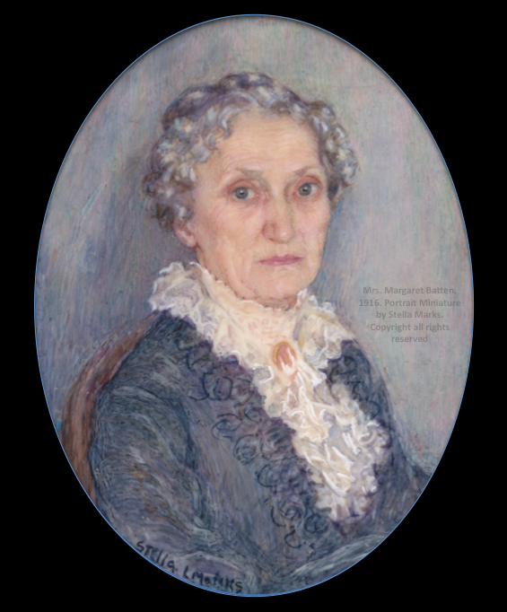 Portrait Miniature of Mrs. Margaret Batten by Stella Marks. Circa 1916 . Copyright Stella Marks' Estate all rights reserved
