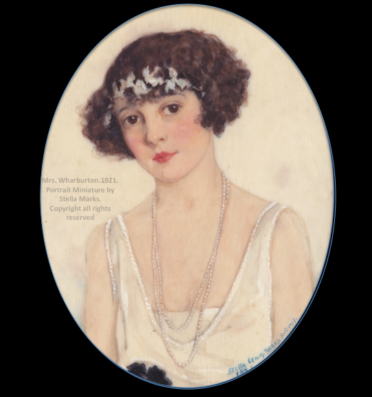 Portrait Miniature of Mrs Rosamund Warburton in 1921 by Stella Marks. Copyright Stella Marks' Estate all rights reserved.  In 1926, Rosamund, after a divorce, married  William Kissam Vanderbilt II