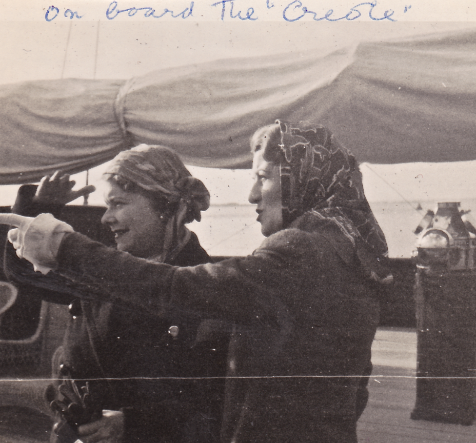 Stella With Eila guthrie on board Sir Connop Guthrie's yacht, the creole (the world's largest wooden sailing yacht now owned by the gucci family)