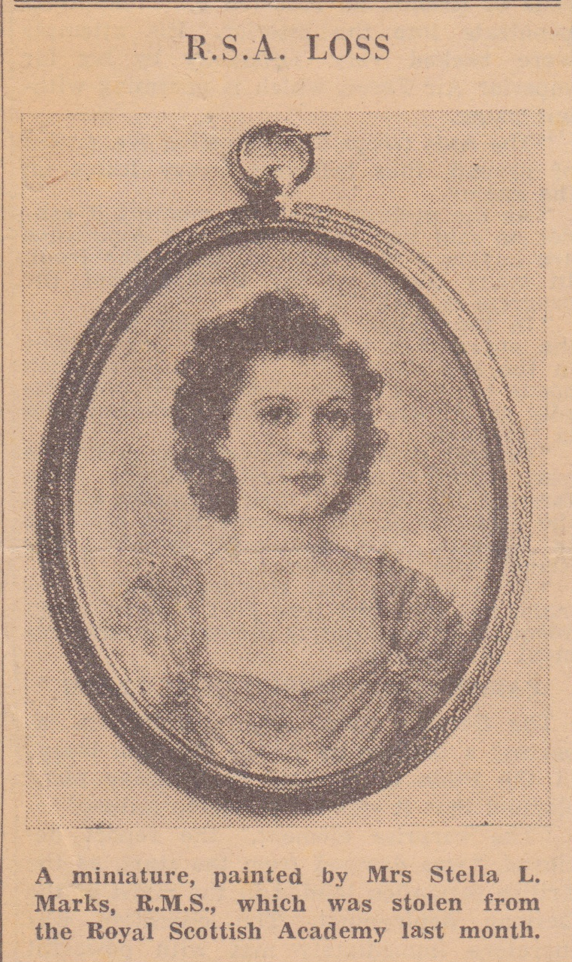 1943 News item on stella marks' portrait Miniature of Miss betty ince