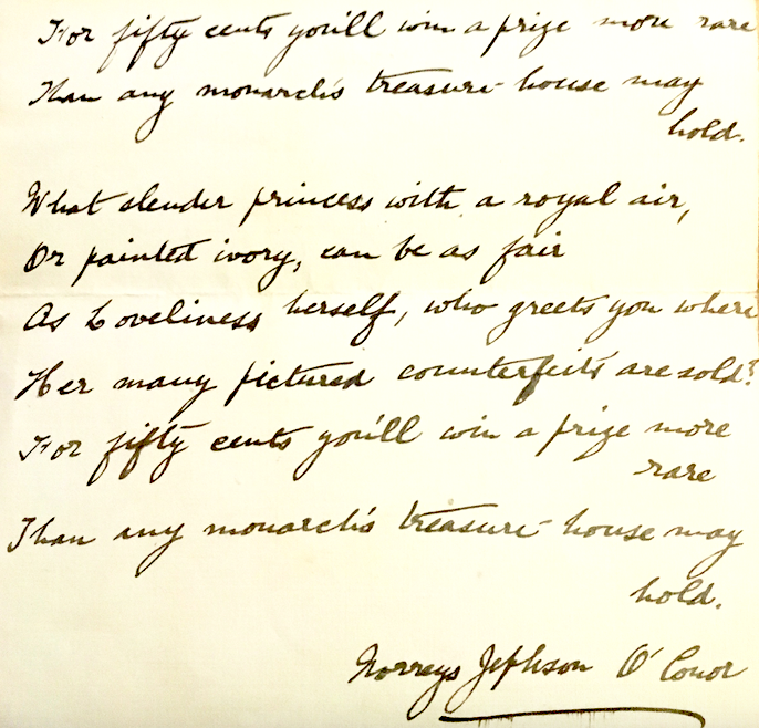 Norreys Jephson O'Conor poem about copies of Stella Mark's miniature of Princess Patricia