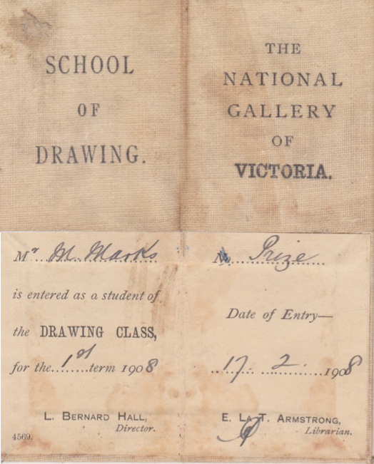 Monty Marks' Student Card 1908, National gallery of victoria