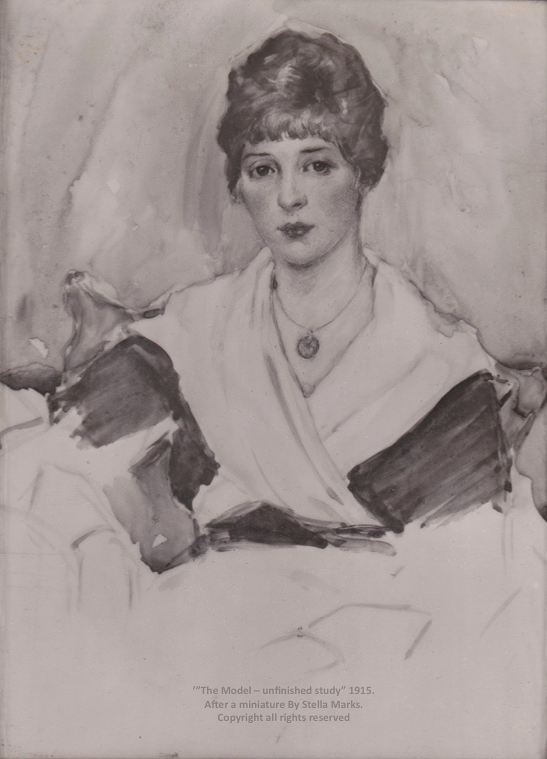 'The Model - unfinished Study' 1915. After a miniature by Stella Marks' Estate. Copyright the artist all rights reserved.