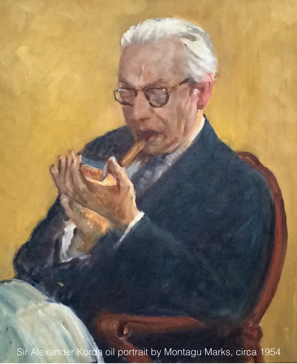 Alexander Korda portrait by Montagu Marks, circa 1954. Copyright Montagu Marks' Estate All Rights Reserved. private collection.