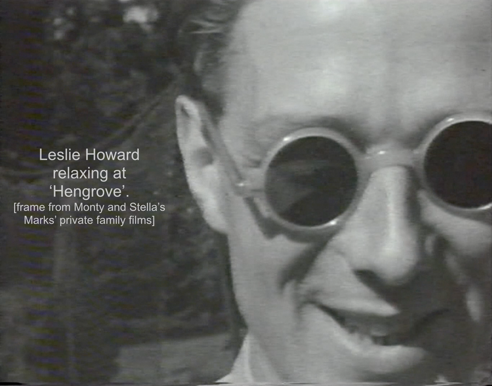 Leslie Howard relaxing at Hengrove, home of Monty and Stella Marks (frame from pre-ww2 Family Film)
