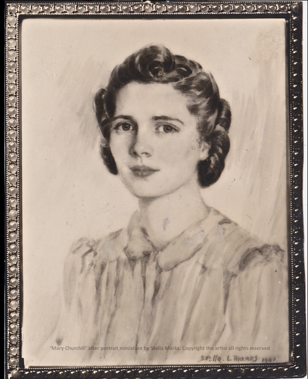 'Mary Churchill' after a portrait miniature by Stella Marks, 1941. Copyright Stella Marks' Estate all rights reserved.