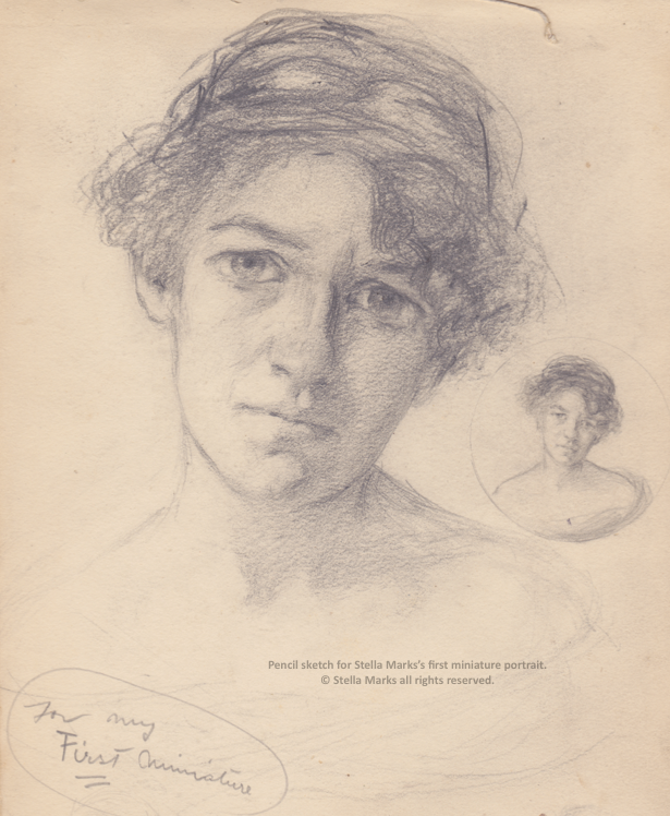 Pencil Sketch for Stella Marks' first miniature, 1912. Copyright Stella Marks' Estate. All rights reserved. Private Collection.