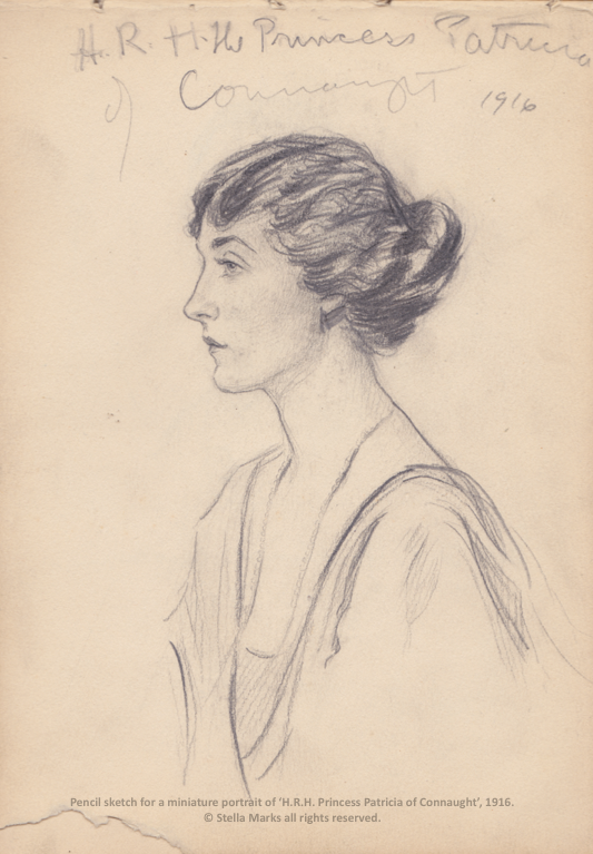 Pencil sketch for a miniature by Stella Marks of H.R.H. The Princess Patricia of Connaught, 1916. Copyright Stella Marks' Estate all rights reserved. Private Collection.