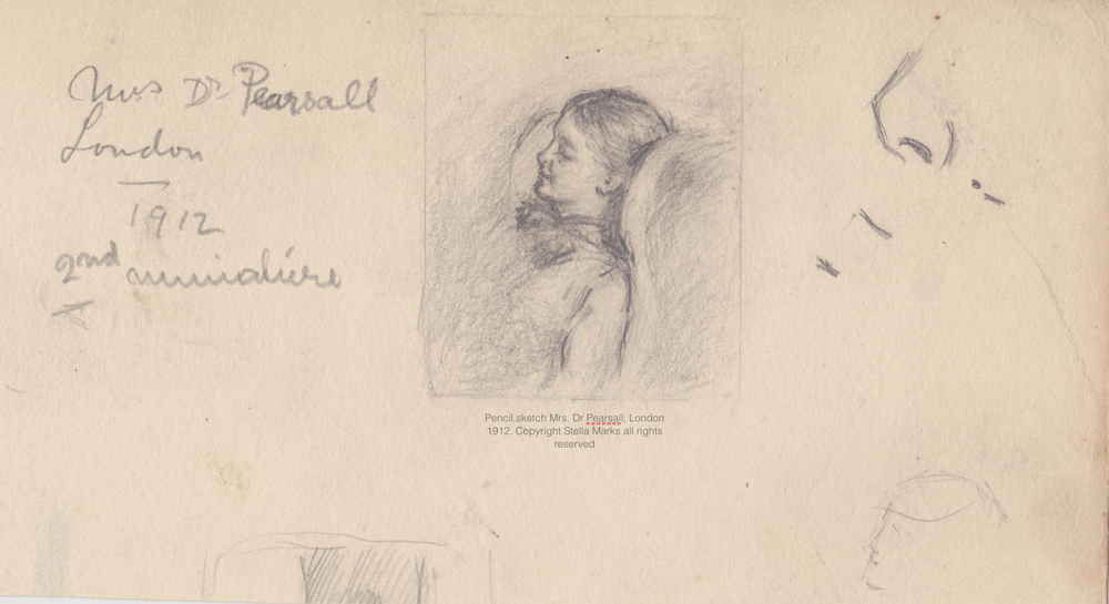 Pencil sketch for a miniature by Stella Marks of Mrs. Dr Pearsall, London 1912. Copyright Stella Marks' Estate all rights reserved.