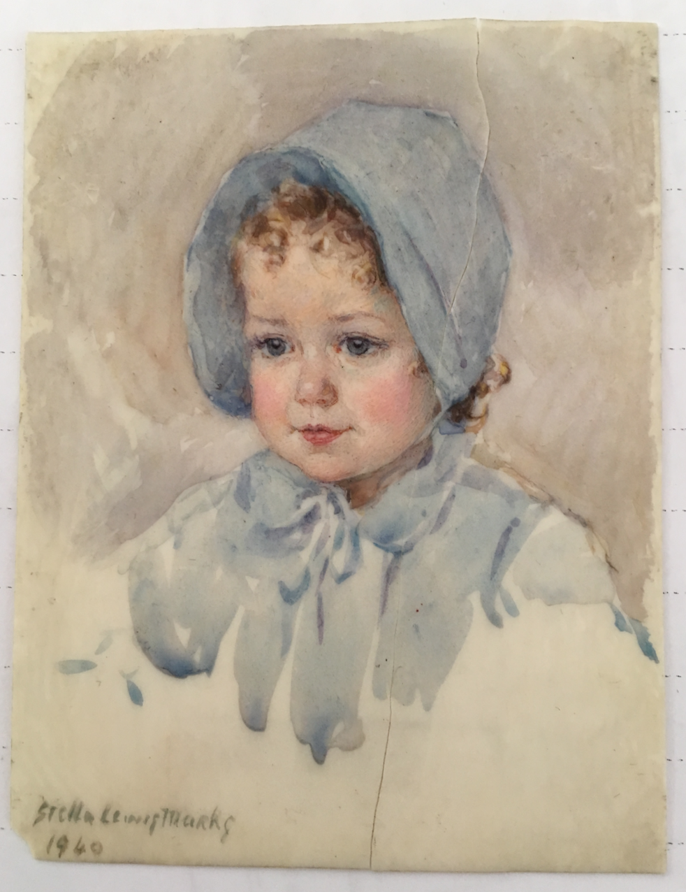 Portrait miniature of Sonia Harrison by Stella Marks, 1940. Copyright Stella Marks all rights reserved