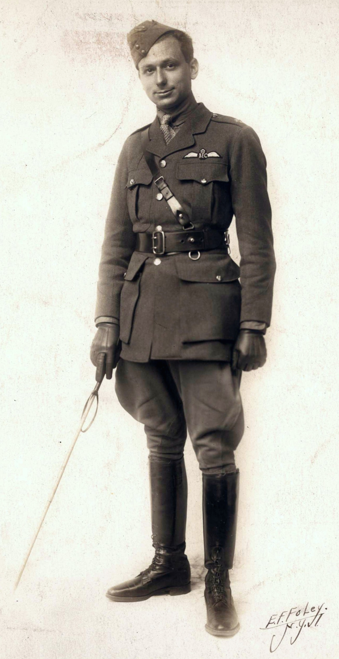 Monty Marks in 1917, pilot in the royal flying corp