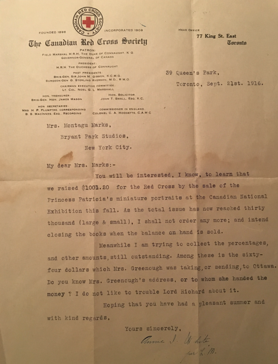 Letter from the Canadian Red Cross stating 30,000 copies of Stella Marks' miniature of Princess Patricia had been sold.