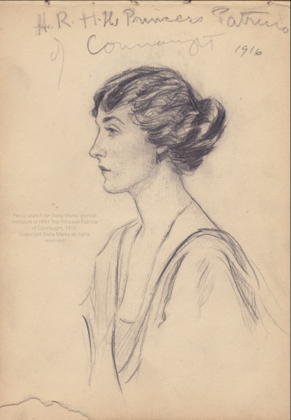 Pencil sketch for Stella Marks' portrait miniature of H.R.H. The Princess Patricia of Connaught, 1916. Copyright Stella Marks' Estate all rights reserved