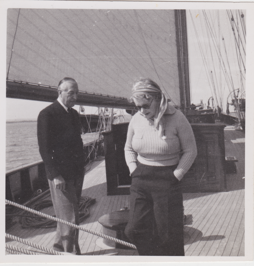 Stella Marks with Sir Connop Guthrie on board his yacht, the Creole.
