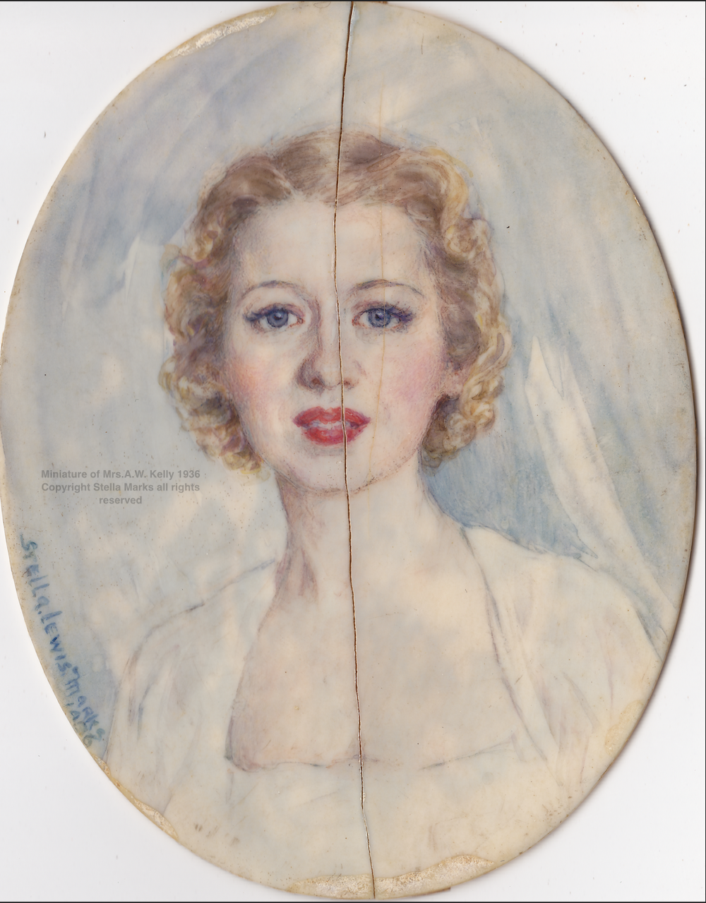 Stella Mark's portrait miniature (damaged) of Mrs. Arthur Kelly, 1936. Copyright the artist all rights reserved