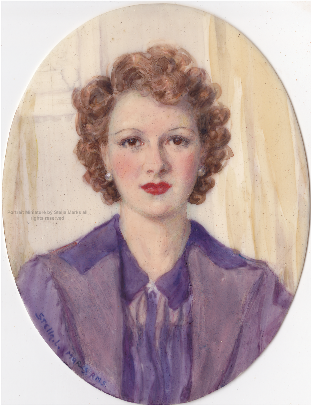 Portrait Miniature by Stella Marks. Copyright Stella Marks' Estate all rights reserved. Private Collection.