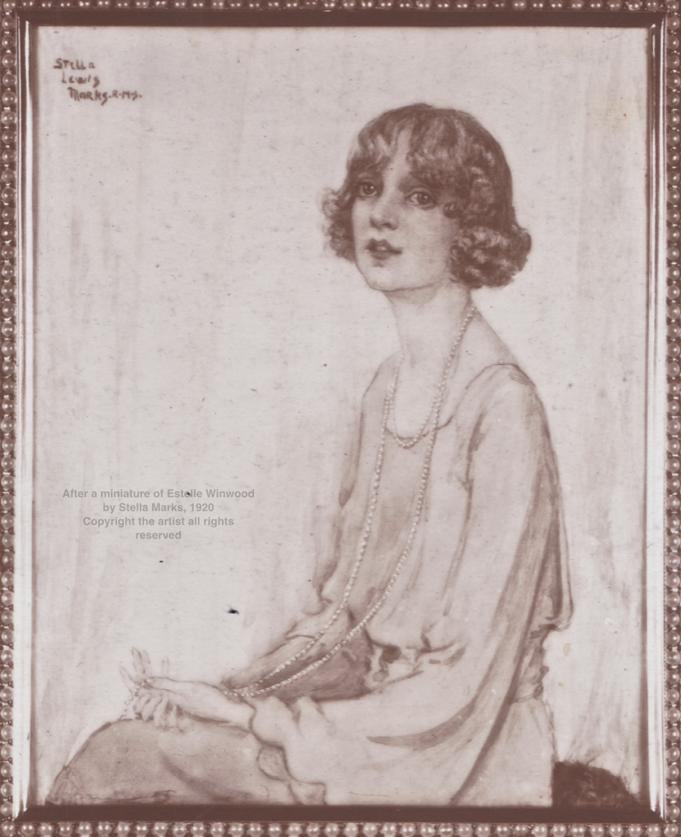 After a miniature of Estelle Winwood by Stella Marks, 1920. Copyright the artist all rights reserved