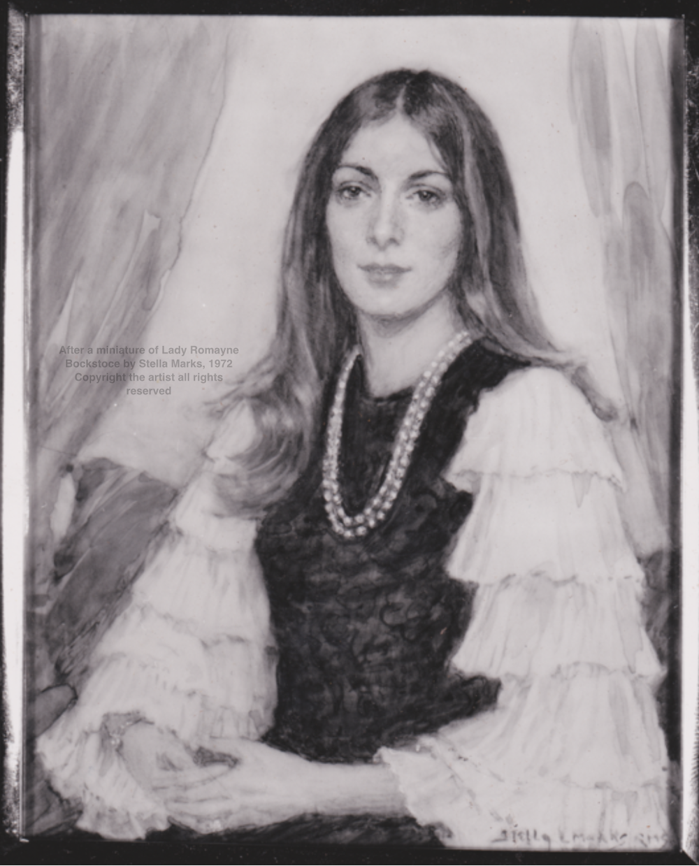 After a miniature of Lady Romayne Bockstoce by Stella Marks, 1972 Copyright the artist all rights reserved