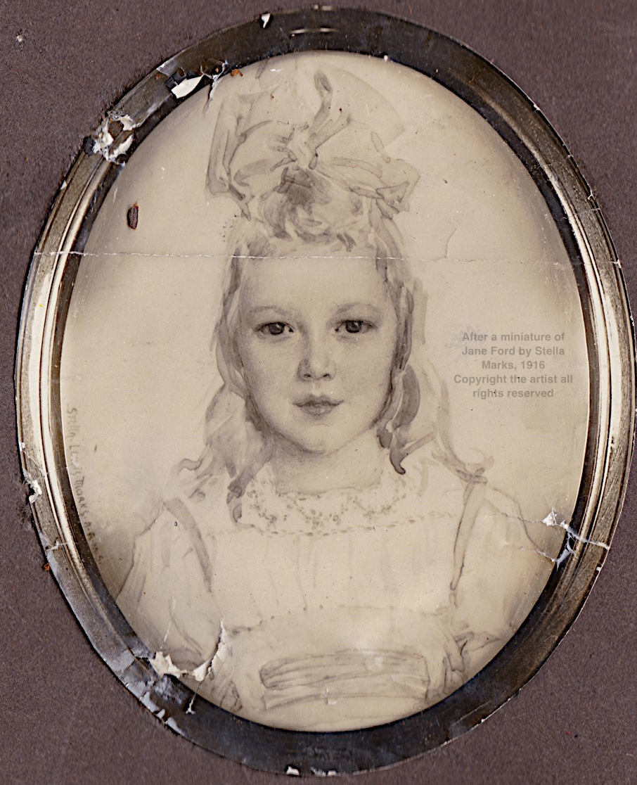 After a miniature of Jane Ford by Stella Marks, 1916 Copyright Stella Marks' Estate all rights reserved