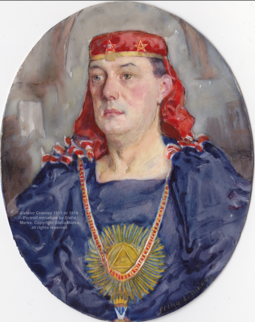 Aleister Crowley 1915 or 1916. Portrait miniature by Stella Marks. Copyright Stella Marks' Estate all rights reserved