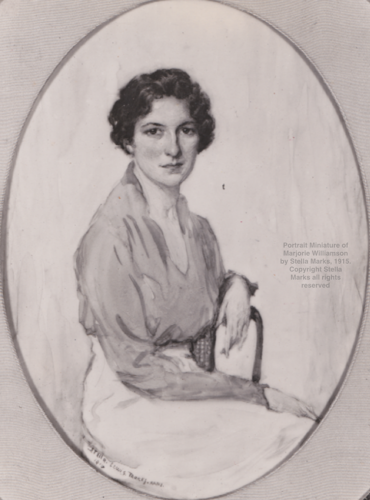 After A Portrait Miniature of Marjorie Williamson by Stella Marks, 1915. Copyright Stella Marks' Estate all rights reserved