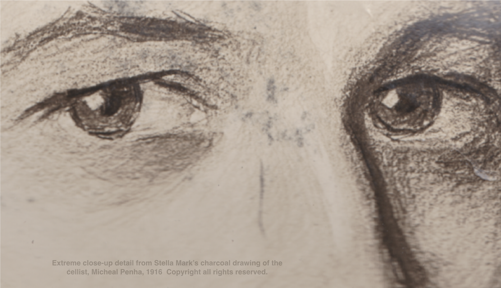 Extreme close-up detail from Stella Mark's charcoal drawing of the cellist, Micheal Penha, 1916. Copyright Stella Marks' Estate all rights reserved.