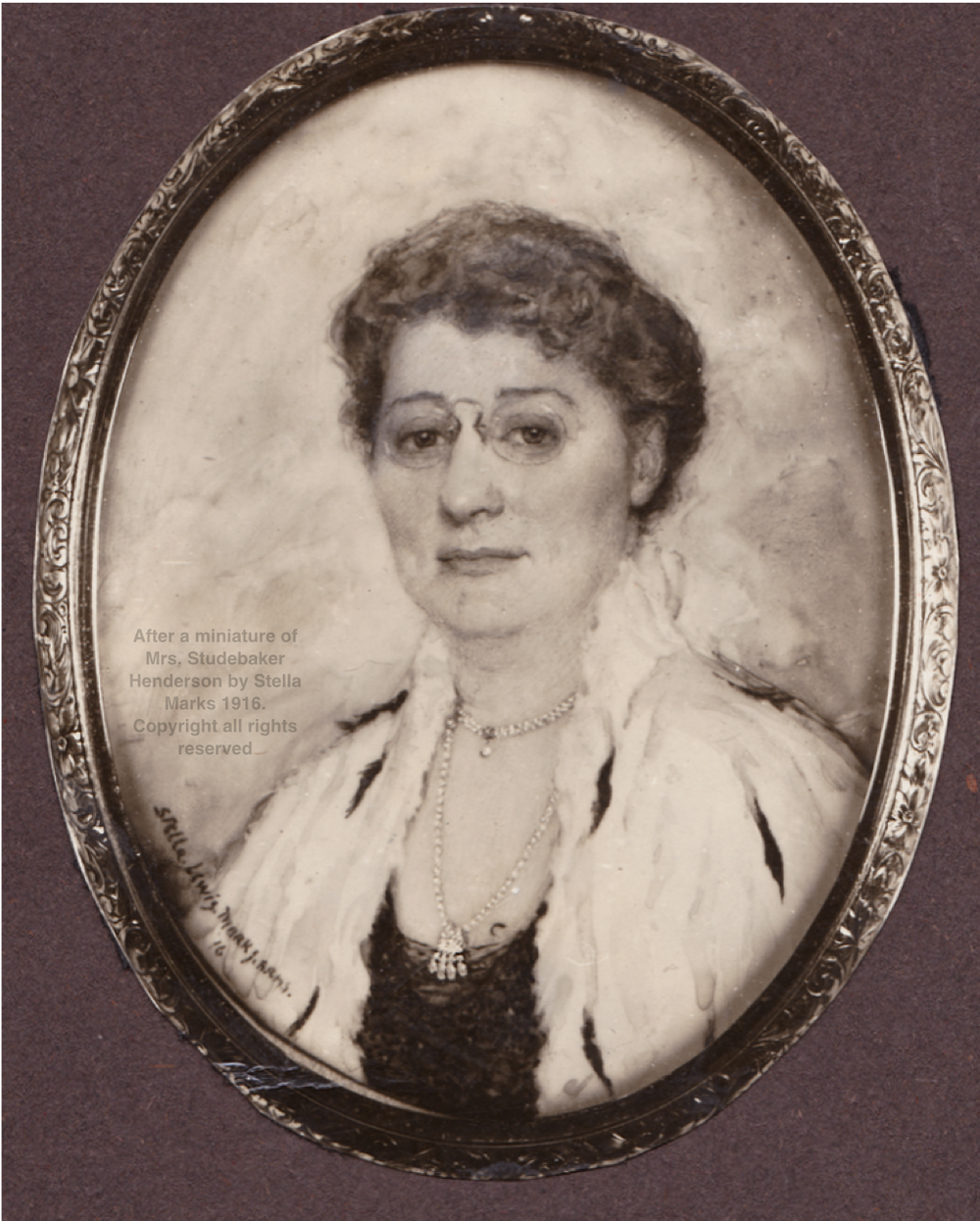 After a miniature of Mrs. Studebaker Henderson by Stella Marks 1916. Copyright Stella Marks' Estate all rights reserved