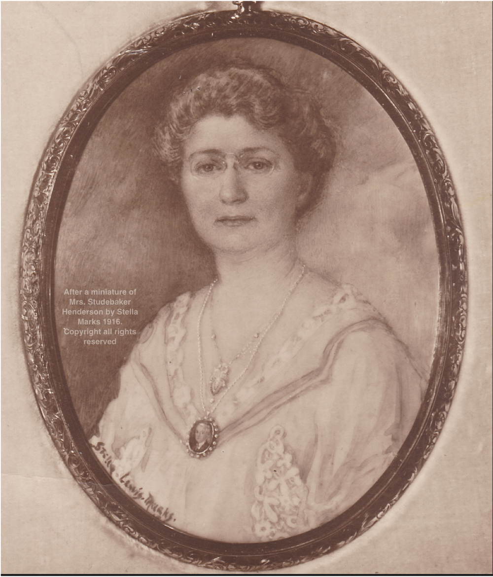 Mrs. Studebaker Henderson, wearing the miniature of Lucius Henderson. After a miniature by Stella Marks. Copyright the artist all rights reserved.