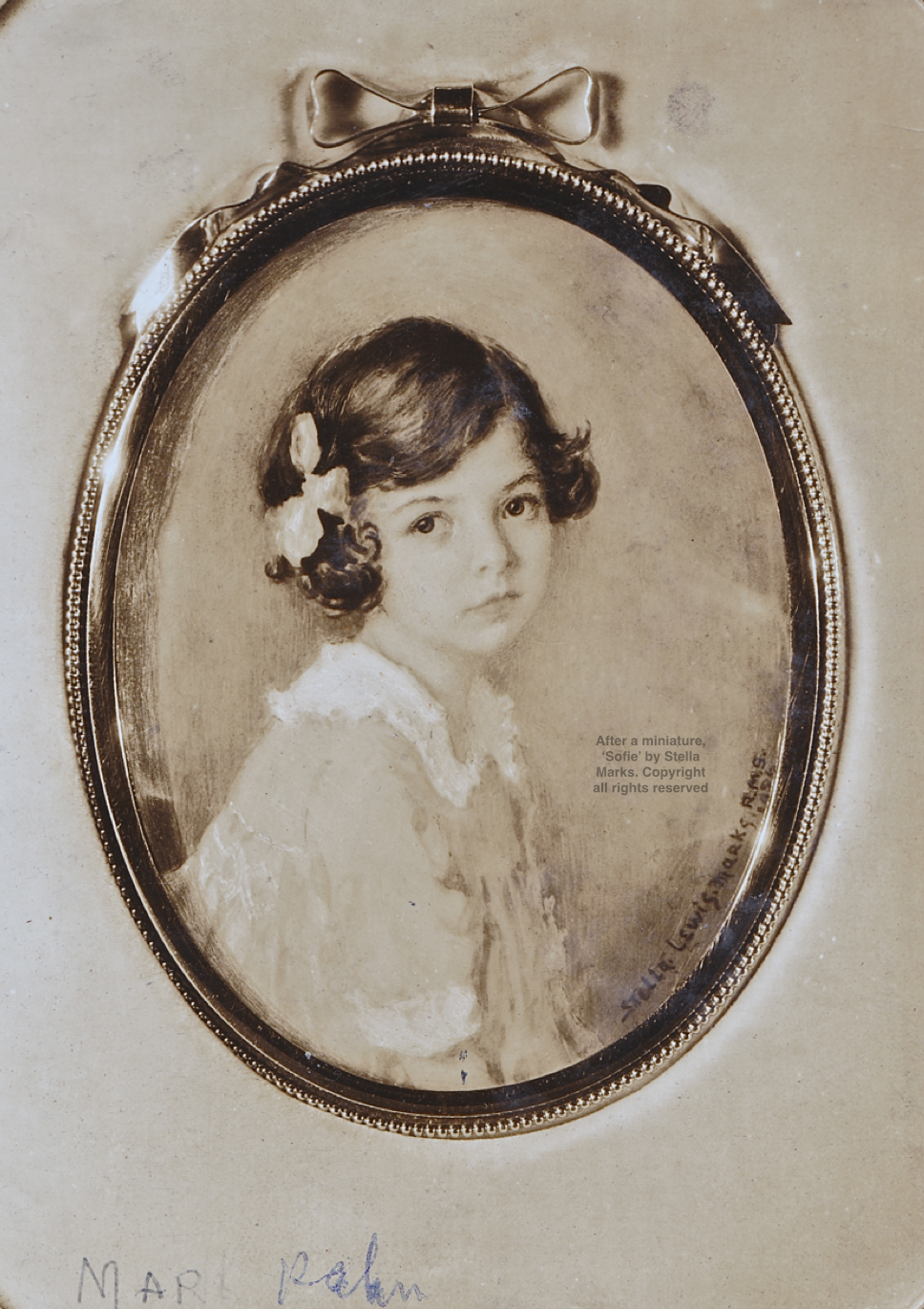 After a miniature, 'Sofie'/ Miss Martlyn Kaura or Marilyn Kawn, by Stella Marks, 1926. Copyright all rights reserved