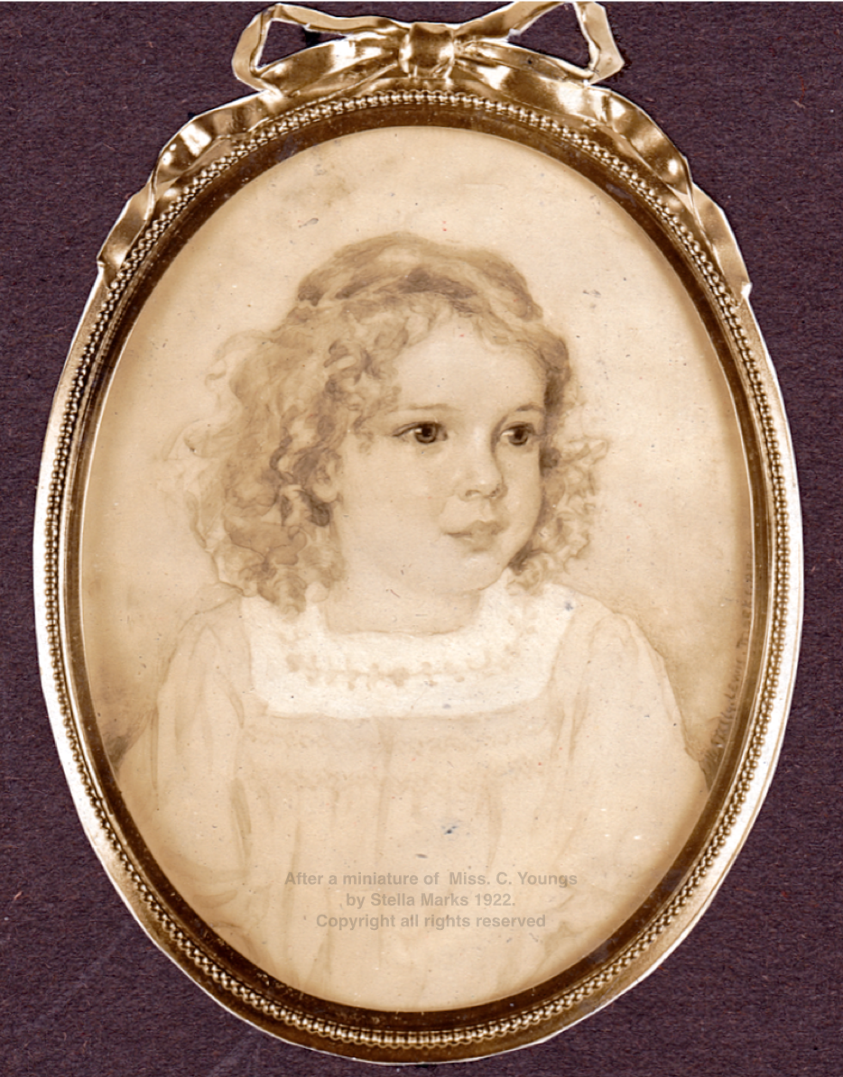After a miniature ofMiss. C. Youngs by Stella Marks 1922. Copyright Stella Marks' Estate all rights reserved