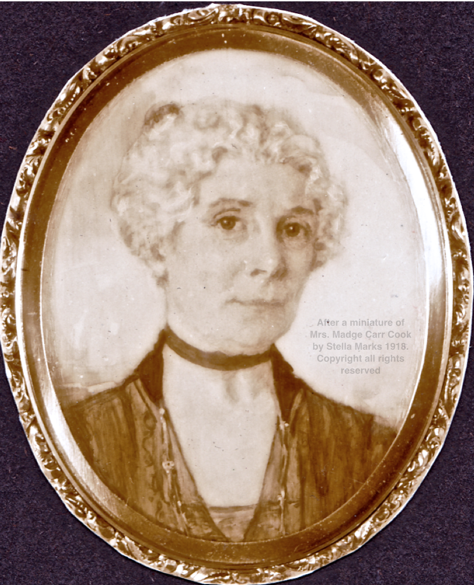 After a miniature of Mrs. Madge Carr Cook by Stella Marks 1918. Copyright all rights reserved