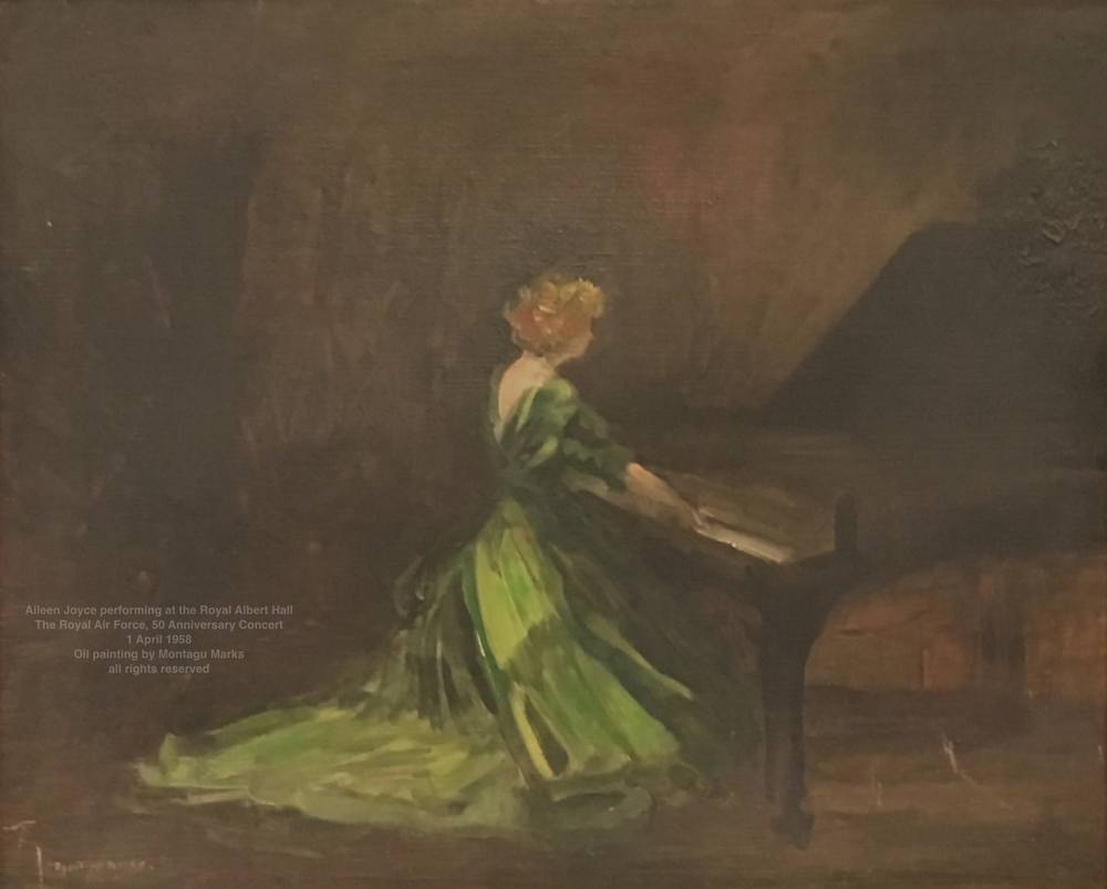 Aileen Joyce performing at the Royal Albert Hall: The Royal Air Force, 50 Anniversary Concert, 1 April 1958. Oil painting by Montagu Marks all rights reserved