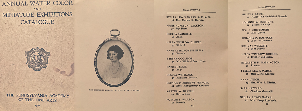 Stella Marks miniatures: The Pennsylvania Academy of Fine Arts Catalogue, 1921