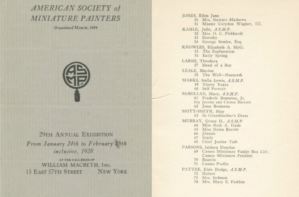 Stella Marks works in The American Society of Miniature Painters Catalogue, New York 1928