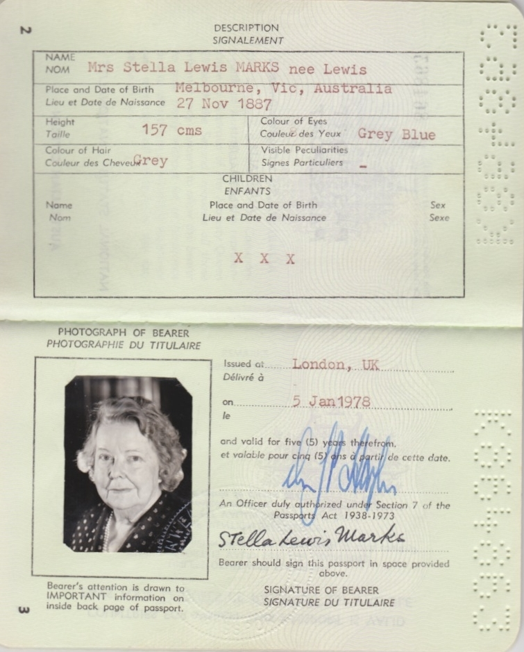 Stella Marks' Australian Passport, 1978
