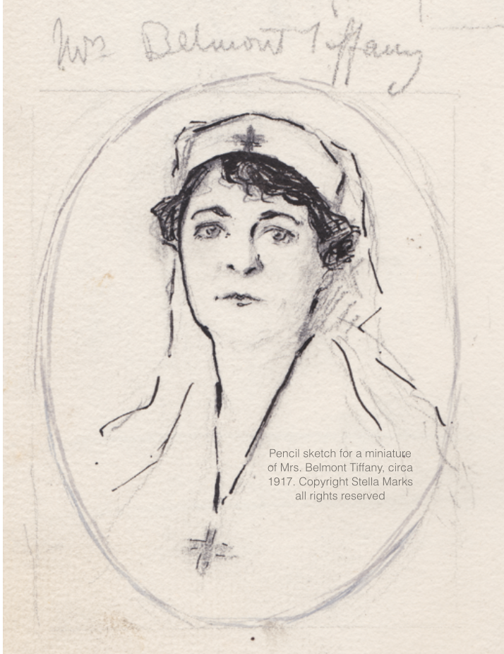 Pencil sketch for a miniature of Mrs. Belmont Tiffany, circa 1917. Copyright Stella Marks' Estate all rights reserved. Private Collection.