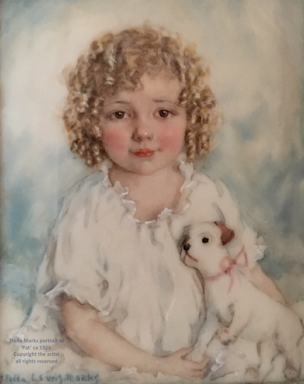 Stella Marks portrait of her daughter with toy dog 'Pat' ca 1923.  Copyright Stella Marks' Estate all rights reserved