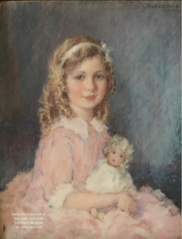 Stella Marks portrait of her daughter 'Pat' withdoll 1926.  Copyright the artist all rights reserved