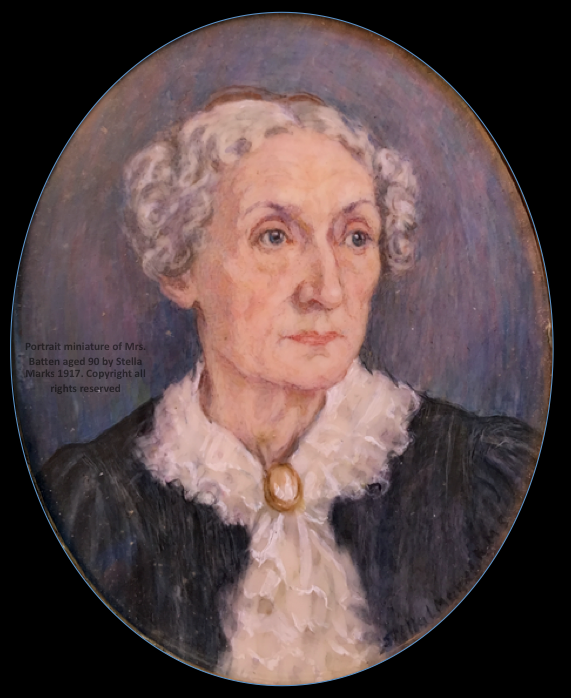 Portrait miniature of Mrs. Batten aged 90 by Stella Marks 1917. Copyright Stella Marks' Estate all rights reserved. Private Collection.