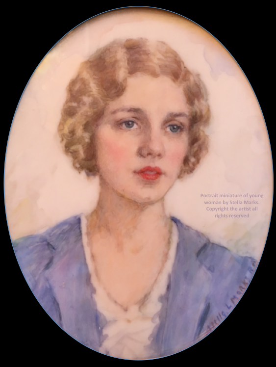 Portrait miniature of young woman by Stella Marks. Copyright the artist all rights reserved
