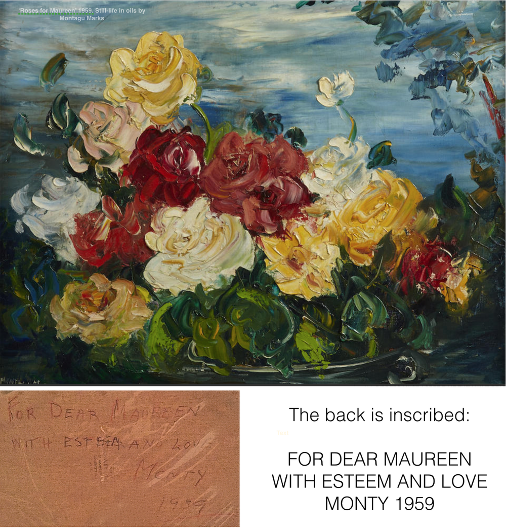 'Roses for maureen' a still life in oils by Montagu Marks, 1959. Copyright Montagu Marks' Estate All rights reserved.
