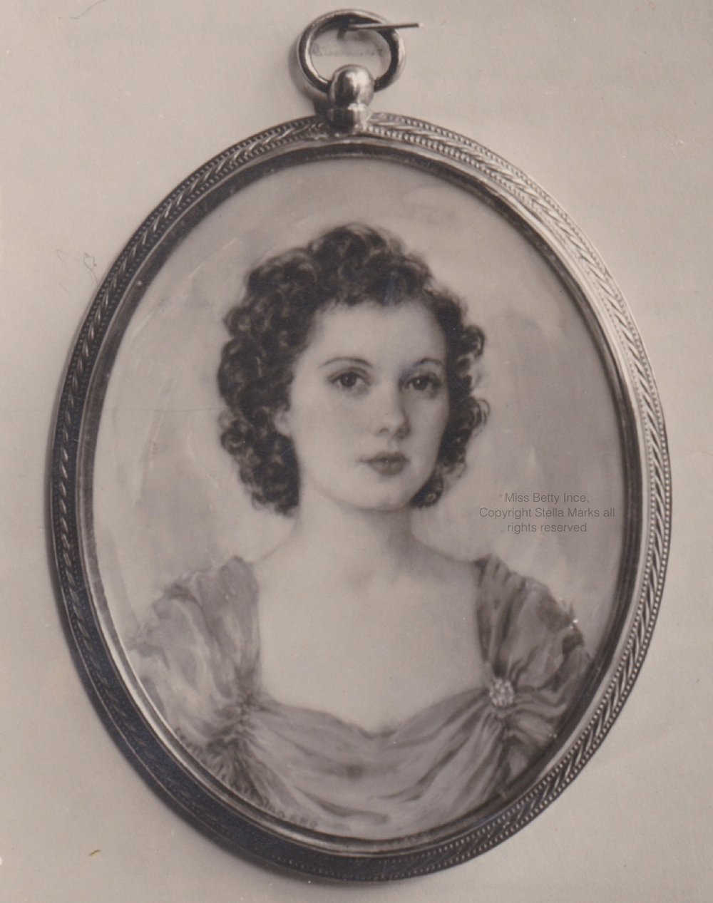 Portrait Miniature by Stella Marks of Miss Betty Ince of Melbourne. first ever theft from the royal Scottish academy. Copyright Stella Marks' Estate All rights reserved