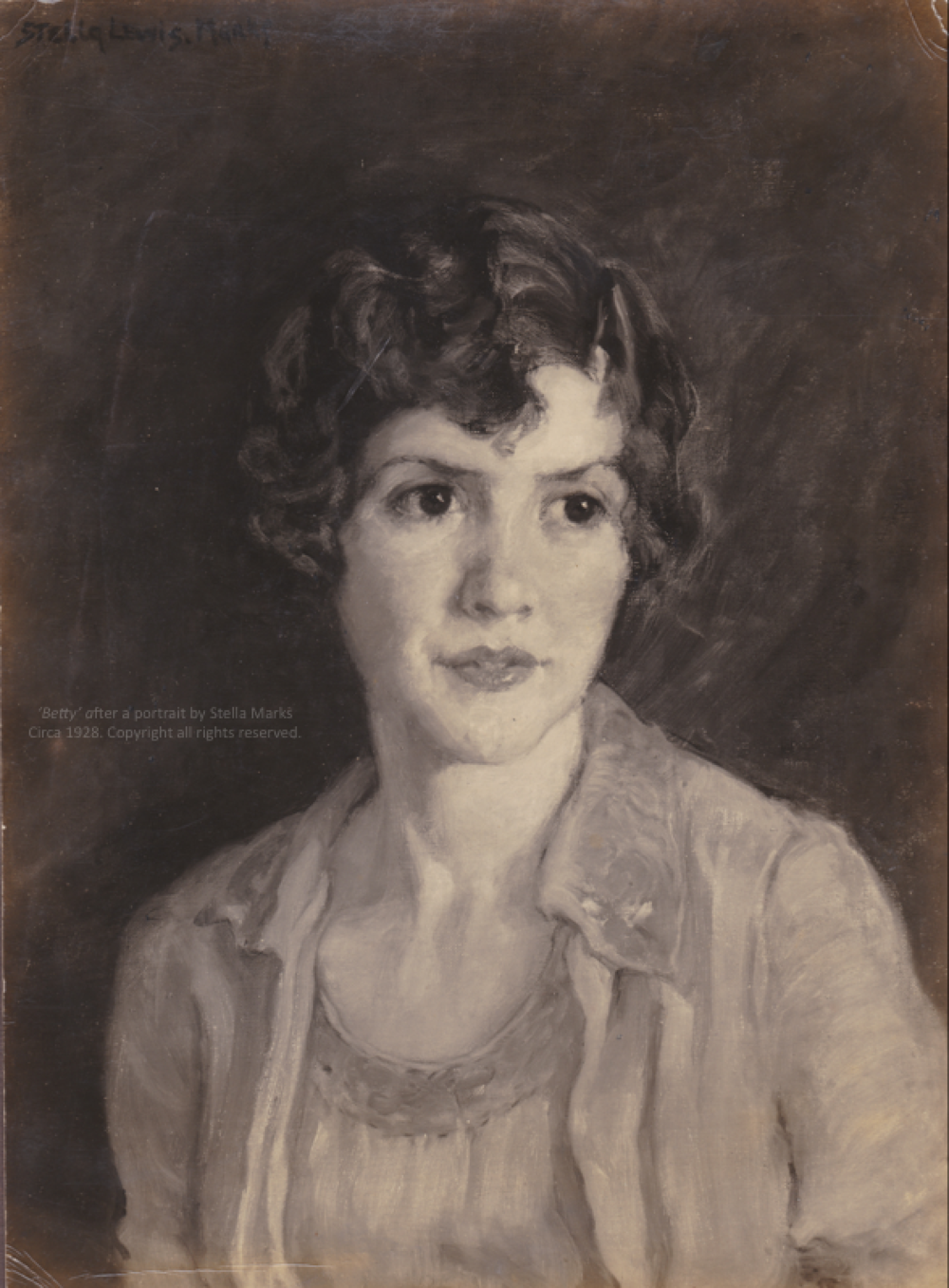 After an oil portrait by Stella Marks of her sister-in-law 'Betty', Née Elizabeth Latourette. Circa 1928. Copyright Stella Marks' Estate All rights reserved.