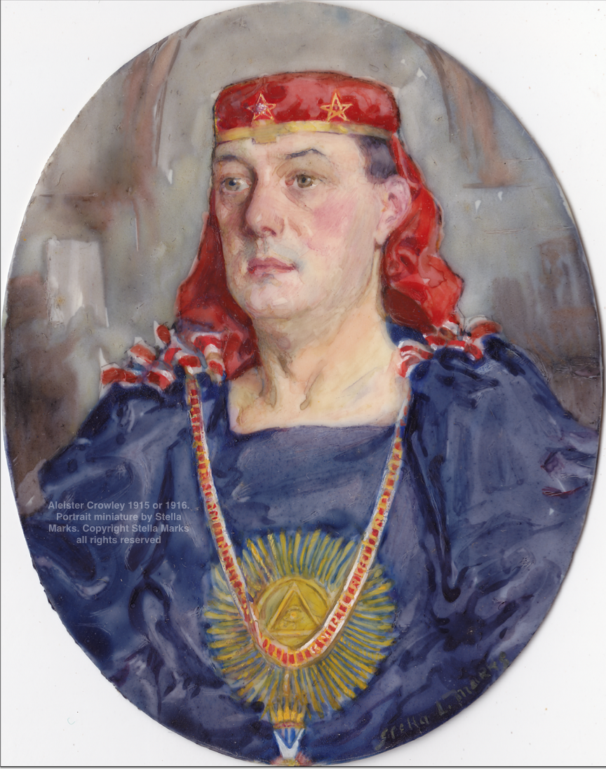 Aleister Crowley 1915 or 1916, wearing X° O.T.O. Regalia. Portrait miniature by Stella Marks. Copyright Stella Marks' Estate all rights reserved. Private Collection.