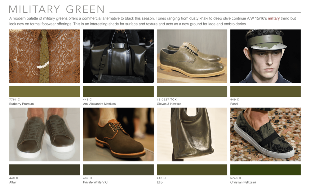 Theo Blix ®  SS16 KEY COLORS  TRENDS Footwear & Accessories Trends Military Green WGSN