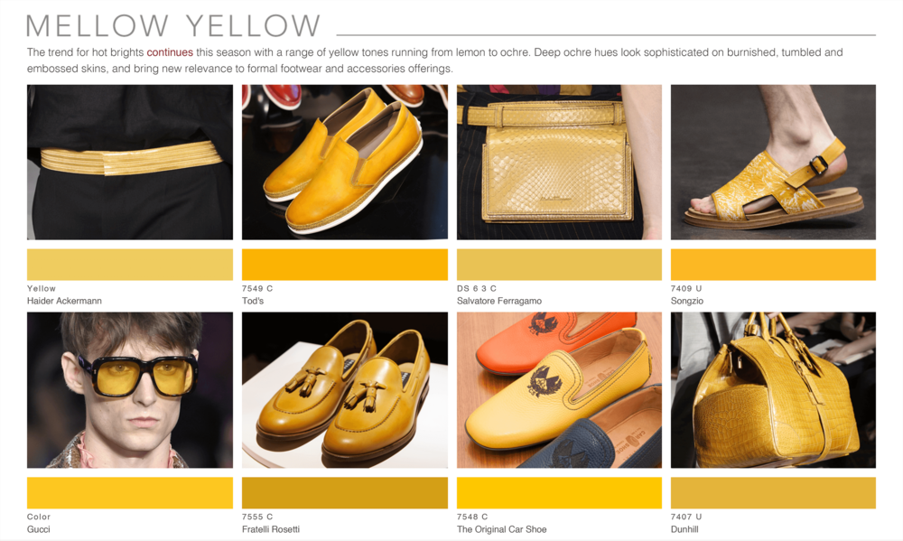 Theo Blix ®  SS16 KEY COLORS  TRENDS Footwear & Accessories Trends  Yellow WGSN