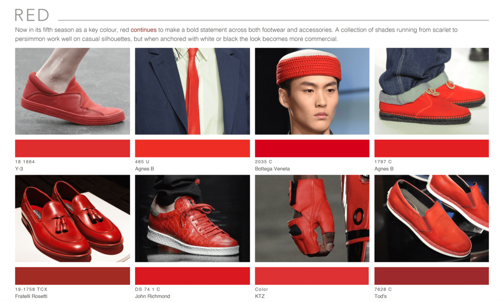 Theo Blix ®  SS16 KEY COLORS  TRENDS Footwear & Accessories Trends Red WGSN