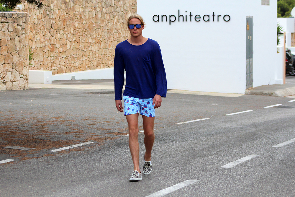 Wearing: Theo Blix Menswear Blogger Scandinavia, Men Blogger Norway,  Men Blogger Sweden  Vilebrequin Moorea Boat Print Swim Shorts , Acne Studios top, Le Specs Captain Courageous sunglasses, Torlasco Men shoes in Python skin - Made in Italy