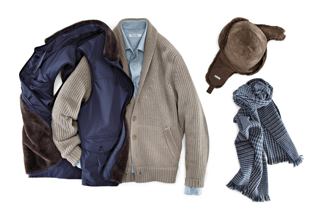 Theo Blix Mens Fashion Blogg, Mens style for winter.  Loro Piana Castorino vest, cashmere mens cardigan and cashmere scarf, layer with a denim shirt.