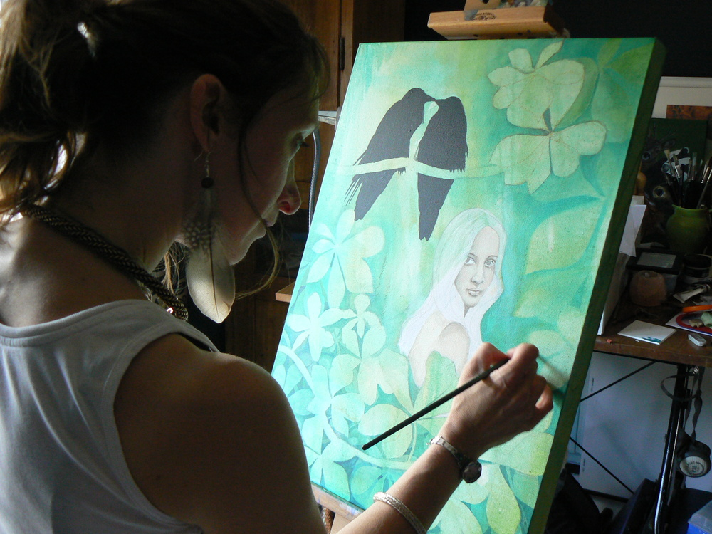 Sharyn connecting with the spirit of the Horse Chestnut Tree as she paints in her studio in Glastonbury